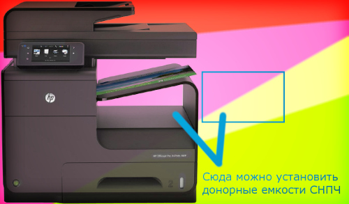 Высота установки донорных емкостей для СНПЧ для HP Officejet Pro X