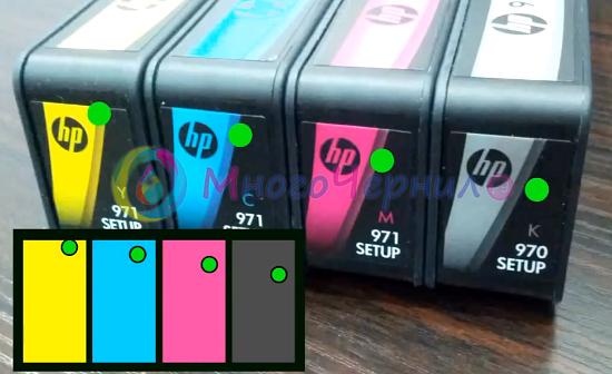 Места для отверстий под СНПЧ в картриджах HP 970/971