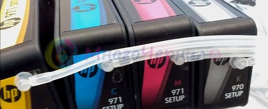 Шлейфы, соединенные с картриджами HP 970/971