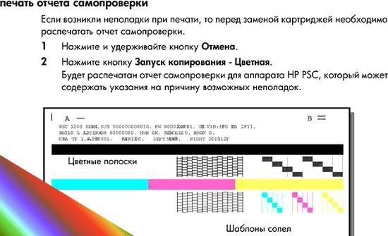 Печать отчета для проверки идентификатора картриджа