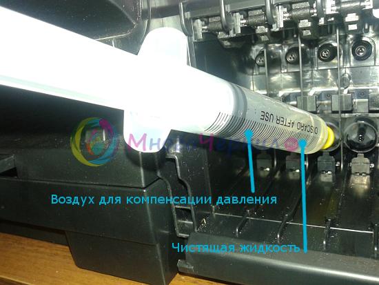 Промывка принтера Brother шприцом через чернилозаборные штуцеры