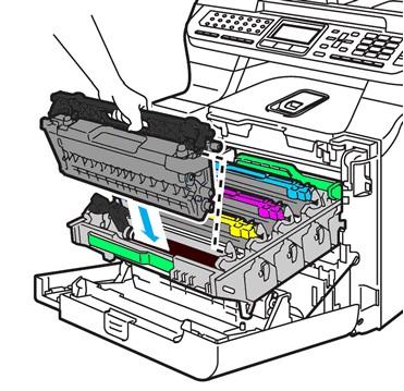 Чёрный тонер-картридж вставляется в драм-юнит цветного лазерного принтера
