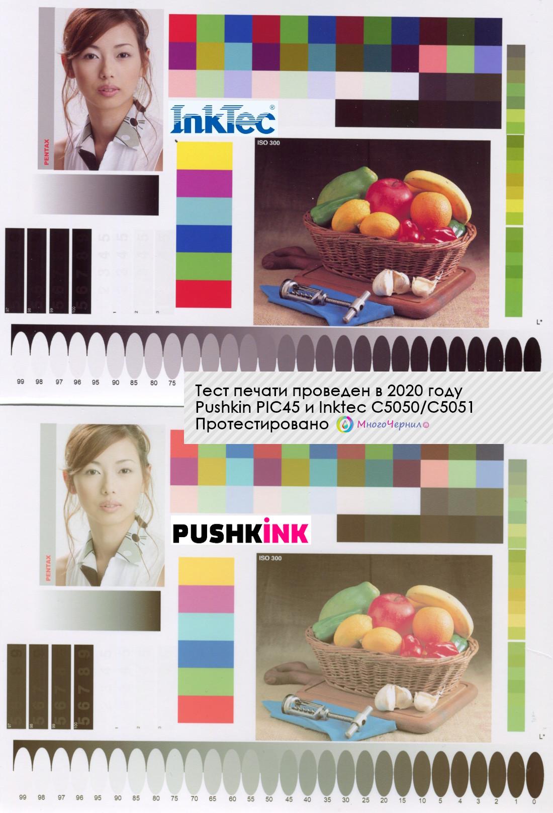 Сравнение печати чернилами Pushkink и Inktec на Canon Pixma