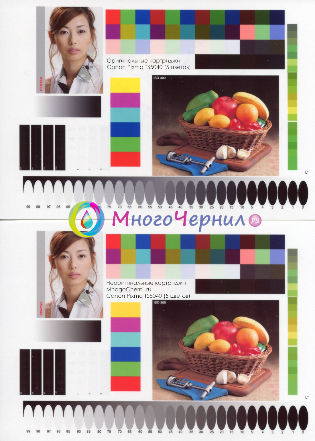 Тест качества печати на неоригинальных картриджах, Canon Pixma TS5040 (PGI-470/CLI-471)
