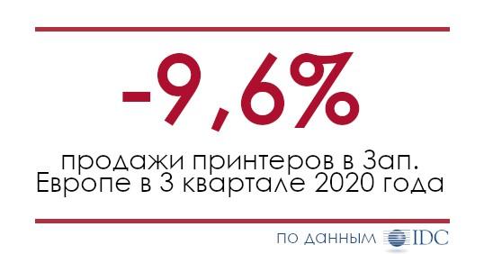 Продажи принтеров в Зап. Европе упали на 9,6% в деньгах 3 квартале 2020 года